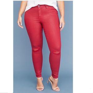 Lane Bryant Super Stretch Coated Red Skinny Jean